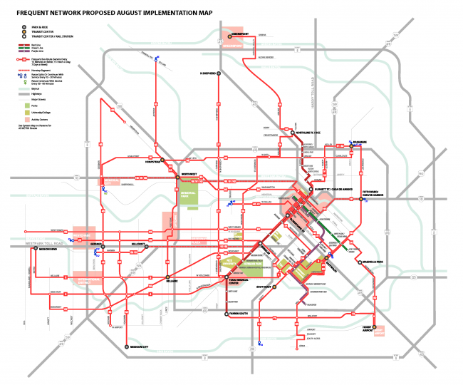 Houston Metro Frequent Network after Reimagining